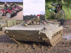 Program plný adrenalinu, vojenské techniky a akce. Přímo na tankodromu zažijete adrenalinovou jízdu v obrněných vozidlech, zúčastníte se paintballové bitvy a zařádíte si na čtyřkolkách.